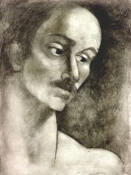Untitled (mustached man) 1970s  etching.