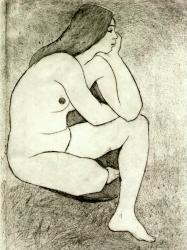 Untitled (seated nude) 1970s etching.