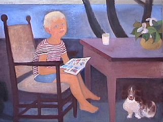 Nick and Two Dogs  1940s  oil.
