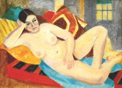 Nude with Red Pillows.  1970s  oil.