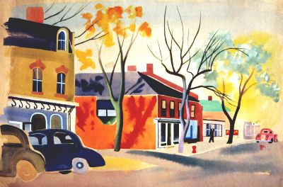 Unttitled Street Scene (Niagara)  1940s  Watercolor  (Collection Of Court and Pam Noxon)