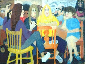 Students With Yellow Chair 1970s  oil.